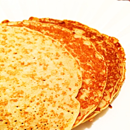 Crepes: 1 Cup flour, 1.5 Cup Milk, 4 eggs, 1/4 Teaspoon salt, 1 tablespoon of Sugar - mix all the ingredients & beat until smooth. Let rest for 30 minutes at room temperature. Cook in thin layers in a well buttered frying pan